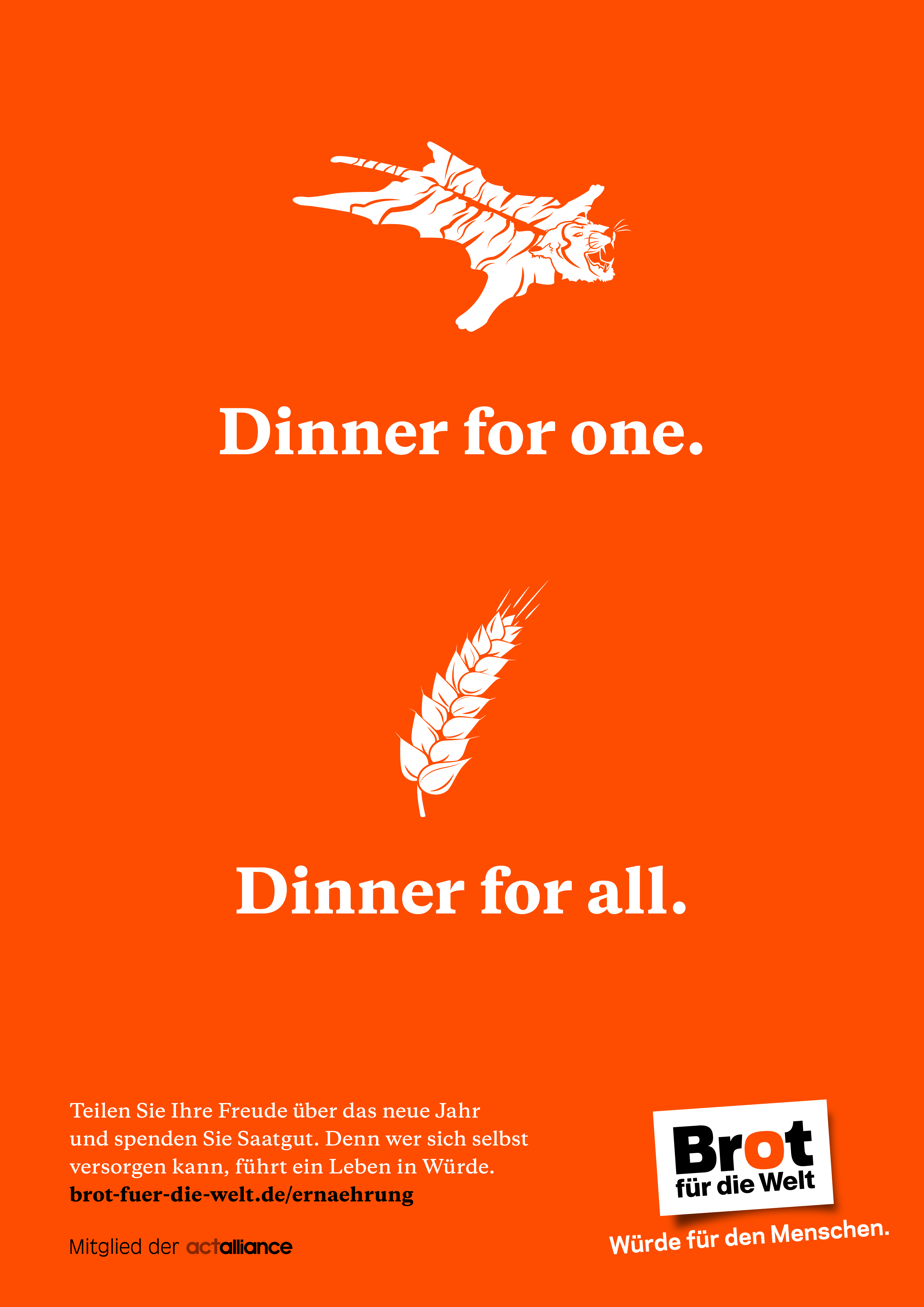 Plakat Brot statt Böller - Dinner for one. Dinner for all