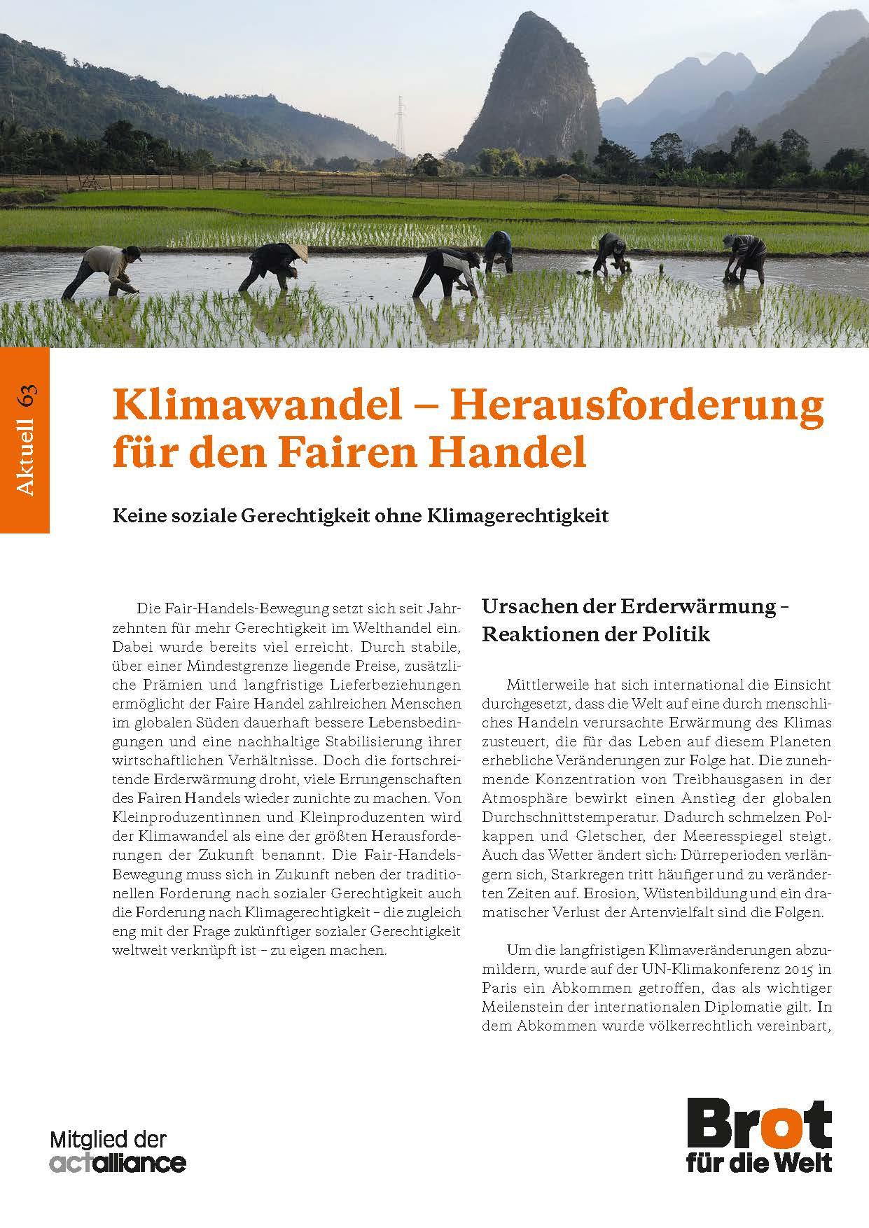 Aktuell 63: Klimawandel - Herausforderung für den Fairen Handel