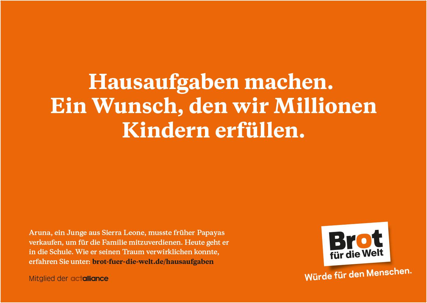 """Plakat """"Hausaufgaben machen. Ein Wunsch, den wir Millionen Kindern erfüllen"""""""
