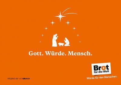 Postkarte: Gott-Würde-Mensch-Stern 50er Pack