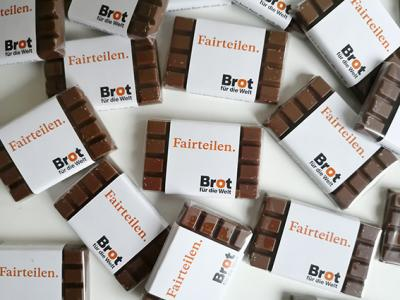 "Schokolade ""Fairteilen"": Banderole weiß"