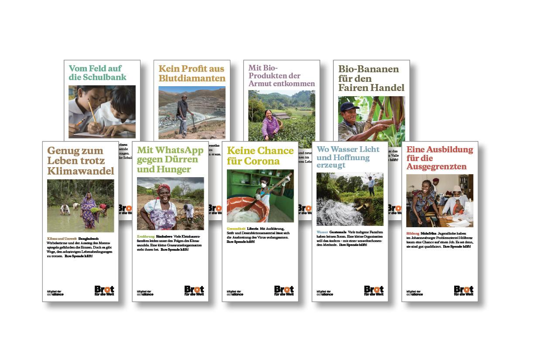Set aller neun Faltblätter Projekte und Themen - 63. Aktion