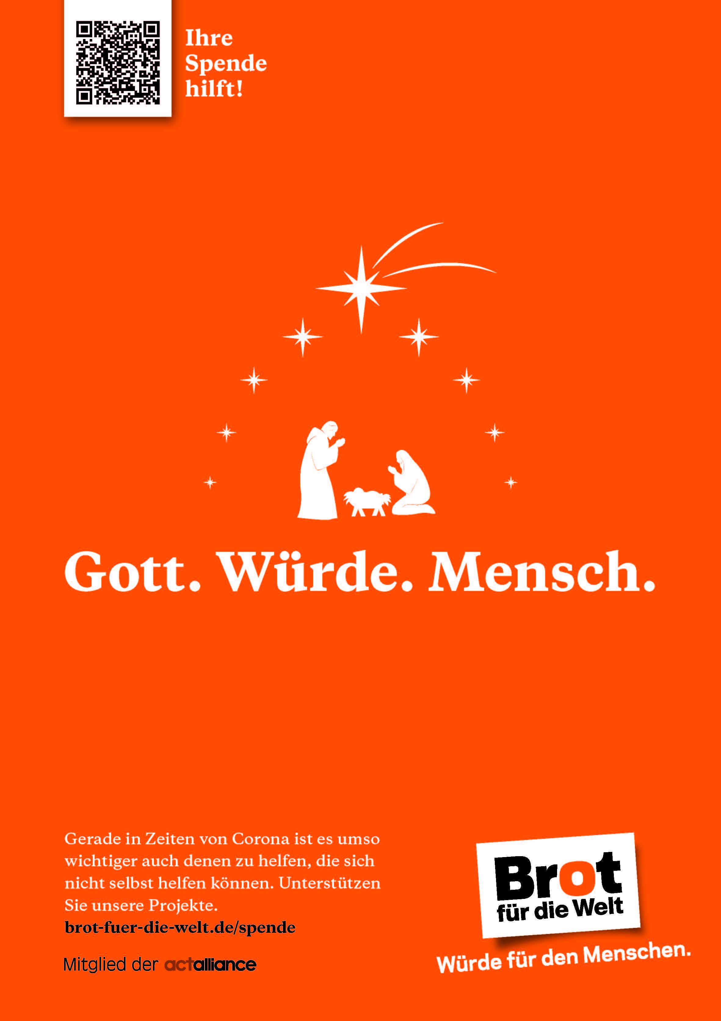 Plakat: Gott - Würde - Mensch - Stern